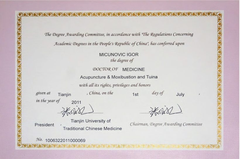 Ph D of Medical Sciences - Acupuncture & Tuina specialty